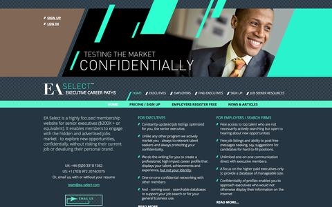 Screenshot of Home Page ea-select.com - Engage with the hidden jobs market confidentially - EA Select - captured Sept. 26, 2014