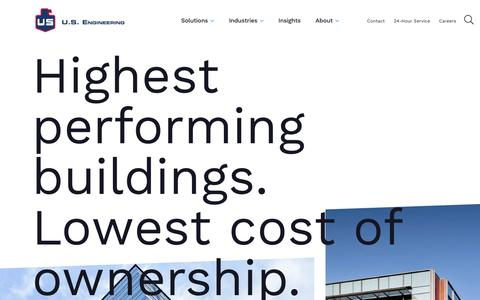 Screenshot of Home Page usengineering.com - Mechanical Contractor | Commercial Construction & Prefab - captured July 3, 2019