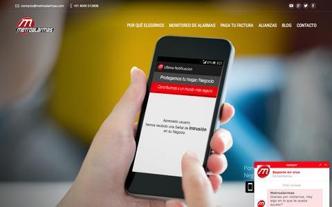 Screenshot of Home Page metroalarmas.com - Inicio - Metroalarmas - Monitoreo de alarma - captured June 17, 2015