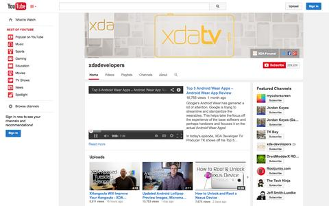 Screenshot of YouTube Page youtube.com - xdadevelopers  - YouTube - captured Oct. 22, 2014