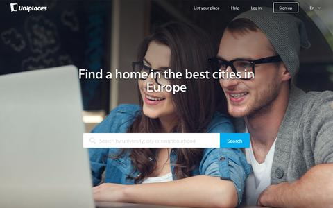 Screenshot of Home Page uniplaces.com - Student accommodation - Uniplaces - captured Nov. 4, 2018