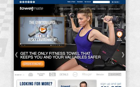 Screenshot of Home Page towelmate.com - Gym Towels, Work Out Towels, Beach Towels | Towelmate - captured Oct. 7, 2014