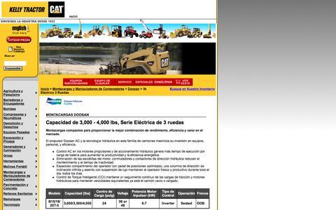 Screenshot of Landing Page kellytractor.com - Montacargas Doosan con Capacidad de 3,000 - 4,000 lbs, Serie Eléctrica de 3 Ruedas - captured Aug. 12, 2016