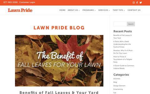 Screenshot of Blog lawnpride.com - Blog | Lawn Pride | Central Indiana Lawn Care Tips - captured Sept. 27, 2018
