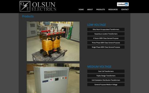 Screenshot of Products Page olsun.com - PRODUCTS - Olsun Electrics - Olsun Electrics - captured Oct. 2, 2014