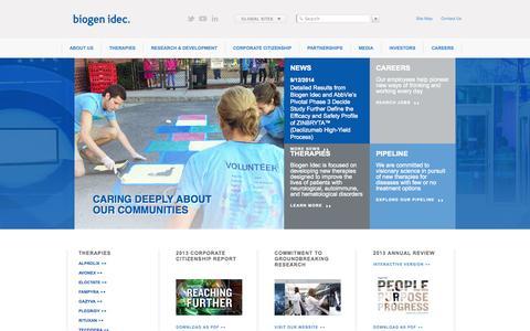 Screenshot of Home Page biogenidec.com - Biotech company specializing in MS and hemophilia drugs - captured Sept. 22, 2014