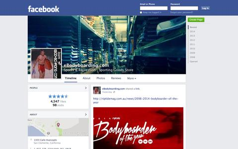 Screenshot of Facebook Page facebook.com - eBodyboarding.com - San Clemente, CA - Sports & Recreation, Sporting Goods Store | Facebook - captured Oct. 23, 2014