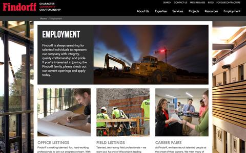 Screenshot of Jobs Page findorff.com - Employment at Findorff - captured Nov. 4, 2016