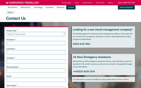 Screenshot of Contact Page corptraveller.co.uk - Contact Us | Corporate Traveller - captured July 13, 2019