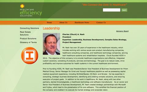 Screenshot of Team Page hcesllc.com - Leadership - Healthcare Efficiency Solutions - captured Oct. 1, 2014