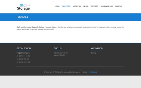 Screenshot of Services Page clinstorage.se - Services - ClinStorage - captured Aug. 6, 2017