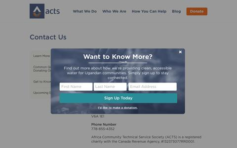 Screenshot of Contact Page acts.ca - ACTS.ca | Contact Us - ACTS.ca - captured Oct. 7, 2017