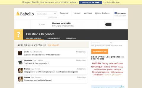 Screenshot of FAQ Page babelio.com - Questions - Babelio - captured Aug. 1, 2018