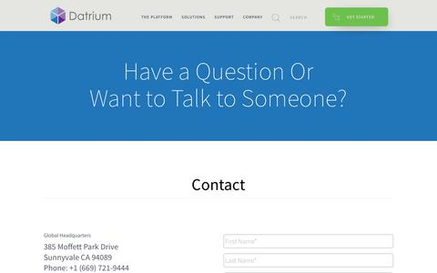 Screenshot of Contact Page datrium.com - Have a Question or Want to Talk to Someone? - - captured May 17, 2019
