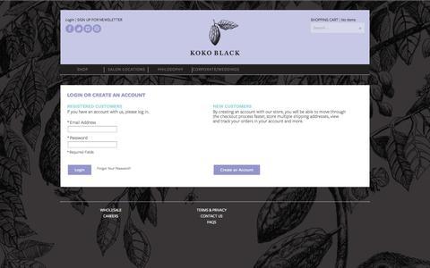 Screenshot of Login Page kokoblack.com - Customer Login - captured Sept. 19, 2014
