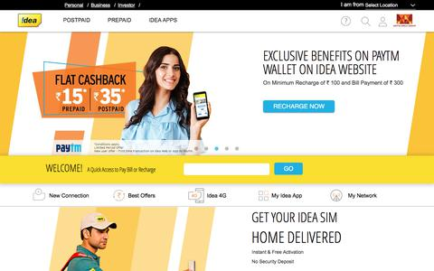 Screenshot of Home Page ideacellular.com - Idea 4G Prepaid, Postpaid, Internet Mobile Services, Wallet | Idea Cellular Ltd. - captured April 1, 2018