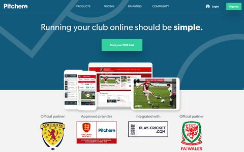 Screenshot of Home Page pitchero.com - Create & Manage The Ultimate Club Website | Pitchero - captured July 18, 2018