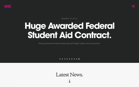 Screenshot of Press Page hugeinc.com - Huge: News - captured Jan. 8, 2016