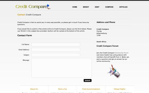 Screenshot of Contact Page creditcompare.co.za - Contact Credit Compare | Online Assistance | Sumbit Free Article - captured Sept. 30, 2014