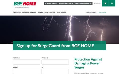 Screenshot of Signup Page bgehome.com - SurgeGuard Signup - BGE HOME - captured May 31, 2017