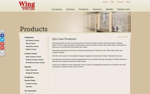 Screenshot of Products Page wingeyecare.com - Wing Eyecare | Eyeglasses/Sunglasses, Contact Lenses, & Accessories - captured Sept. 21, 2018