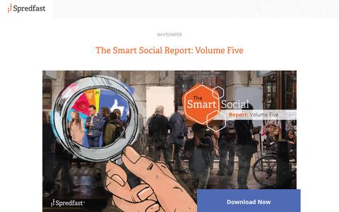Screenshot of Landing Page spredfast.com - Spredfast | Smart Social Report - Volume 5 - captured Oct. 20, 2016