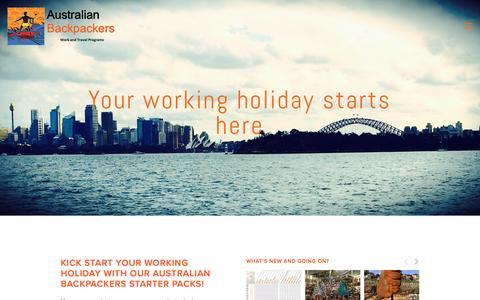 Screenshot of Home Page australianbackpackers.net - Australian Backpackers Work and Travel - captured Nov. 21, 2016