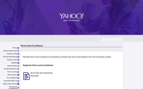 Screenshot of Terms Page yahoo.com - Yahoo India Advertising | Terms and Conditions - captured Dec. 4, 2016