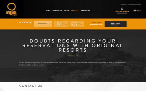 Screenshot of Contact Page originalresorts.com - Original Resorts contact | Original Resorts Official Website - captured Nov. 23, 2015