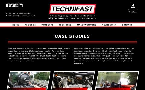 Screenshot of Case Studies Page technifast.co.uk - Case Studies Engineering | Technifast - captured May 7, 2017
