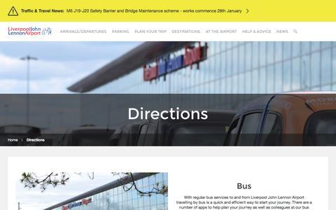 Screenshot of Maps & Directions Page liverpoolairport.com - Getting To and From Liverpool John Lennon Airport - Directions - captured Jan. 31, 2016