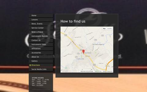 Screenshot of Maps & Directions Page beamsmusicstudio.com - Directions to Beam's Music Studio in Ephrata, PA - captured Sept. 30, 2014