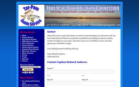 Screenshot of Contact Page tarpamguide.com - Tar-Pam Guide Service Contact FormTar-Pam Guide Service - captured Oct. 7, 2014