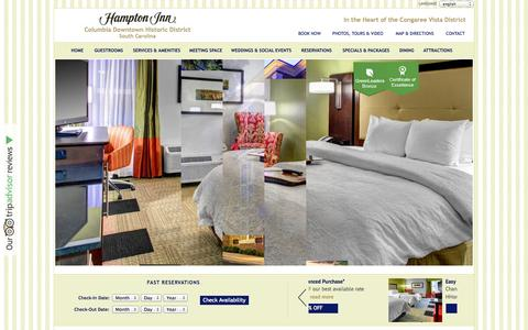 Screenshot of Home Page Privacy Page hamptoninncolumbia.com - Hotels in Columbia SC: Hampton Inn Columbia Downtown Historic Distric, Columbia-SC OFFICIAL WEBSITE. This Hampton Inn is one of the best hotels in Columbia SC near University of South Carolina USC and Vista Historic District. - captured Oct. 1, 2014