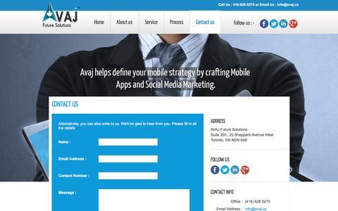 Screenshot of Contact Page avaj.ca - Toronto Mobile App Development   Toronto Mobile Website Design   Mobile Apps Toronto - captured Feb. 5, 2016
