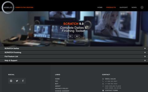 Screenshot of Products Page assimilateinc.com - SCRATCH Finish » ASSIMILATE - captured Nov. 9, 2018