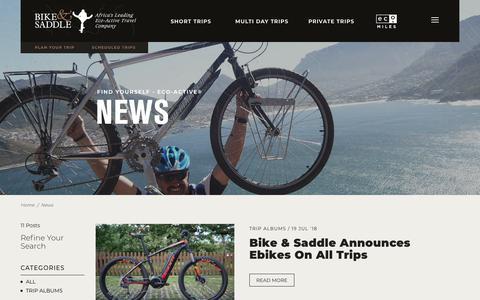 Screenshot of Press Page bikeandsaddle.com - News : Cape Town Travel Tours | Active Holidays – Bike and Saddle - captured Aug. 2, 2018