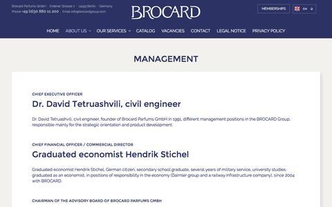 Screenshot of Team Page brocard.com - MANAGEMENT - Brocard - captured Oct. 9, 2017