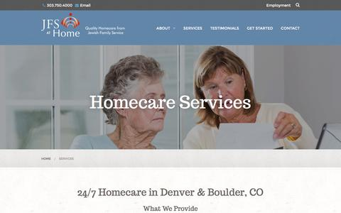 Screenshot of Services Page jfsathome.com - 24/7 Homecare in Denver & Boulder, CO | Part-Time Home Care - captured March 23, 2016