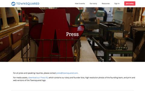 Screenshot of Press Page townsquared.com - Press - Townsquared - captured Oct. 10, 2017