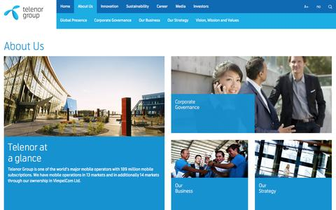 Screenshot of About Page telenor.com - Telenor Group | About Us - captured Sept. 30, 2015