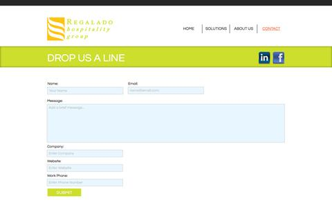 Screenshot of Contact Page regaladohospitalitygroup.com - Contact Us | Regalado Hospitality Group - captured Oct. 9, 2014