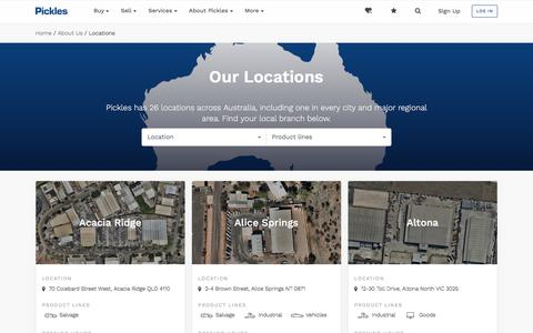 Screenshot of Locations Page pickles.com.au - About Pickles Australia, Australian family-owned business. - captured Sept. 23, 2018