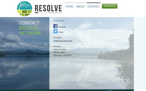 Screenshot of Contact Page resolvenetwork.org - resolvenetwork | CONTACT - captured Dec. 16, 2016