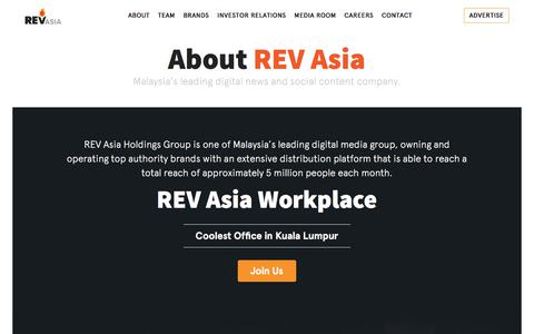Screenshot of About Page revasia.com - About – REV Asia - captured Sept. 23, 2018