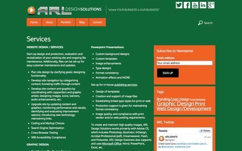 Screenshot of Services Page arlgrafx.com - Services - captured Oct. 1, 2014