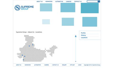 Screenshot of Locations Page supremegroup.co.in - Location - captured Nov. 5, 2014