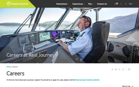 Screenshot of Jobs Page realjourneys.co.nz - Real Journeys NZ: Careers, employment, latest jobs, crew, tourism - captured Oct. 19, 2018