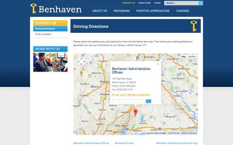 Screenshot of Maps & Directions Page benhaven.org - Driving Directions to Benhaven - captured Oct. 5, 2014