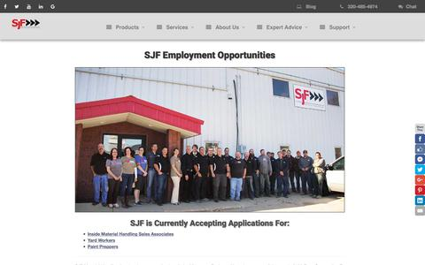 Screenshot of Jobs Page sjf.com - Employment Opportunities at SJF Material Handling - captured April 14, 2018